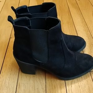 Black faux suede heeled boots